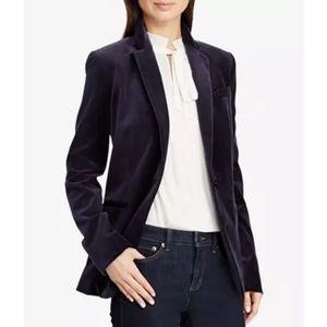 Ralph Lauren Velvet Blazer Jacket Sz 18 Navy NWT